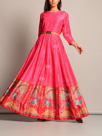 Anarkali, Anarkalis, Leheriya, Printed, Suit, Traditional, Monsoon, Floor Length, Silk