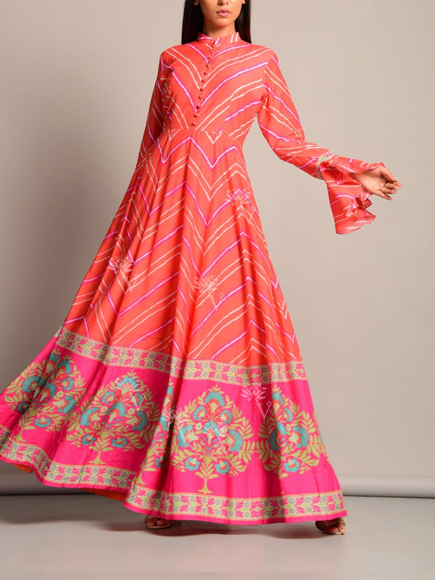Orange Leheriya Printed Anarkali Tunic