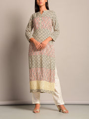 Grey Cotton Printed Straight Kurti