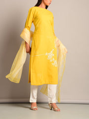 Yellow Embroidered Straight Kurti