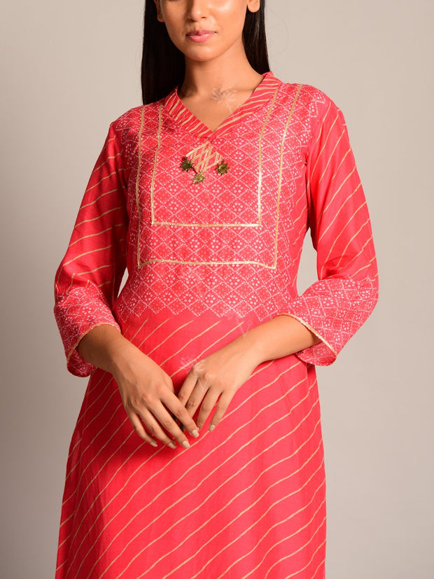 Scrarlet Red Leheriya Kurta Set