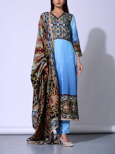Light Blue  Vasansi Silk Suit Set