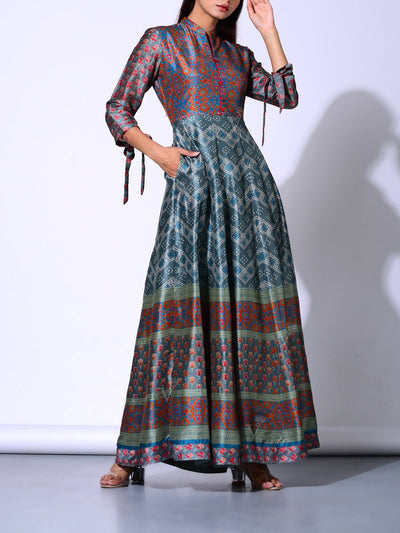 Teal Blue Vasansi Silk Anarkali Gown