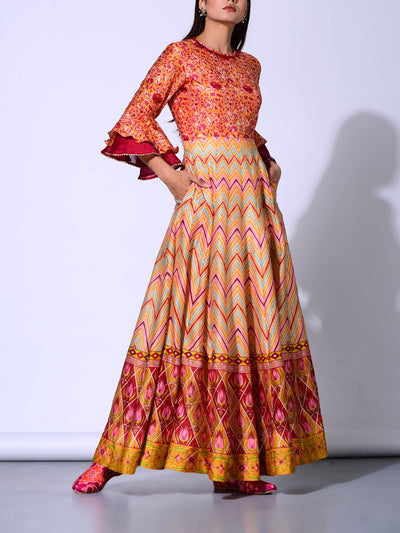 Peach Chanderi Anarkali Gown