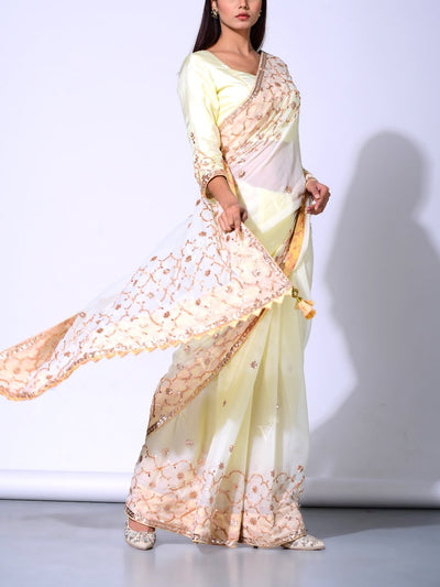Lemon Yellow Pure Chiffon Saree