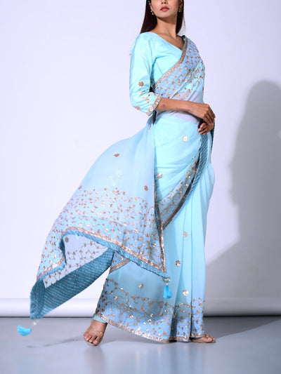 Light Blue  Pure Chiffon Saree