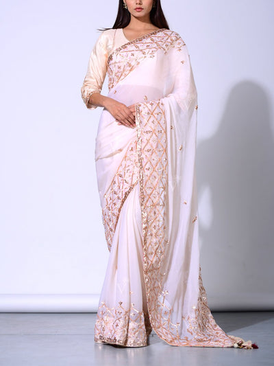 Off white Pure Chiffon Saree