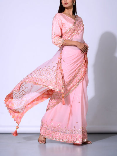 Light Peach Pure Chiffon Saree