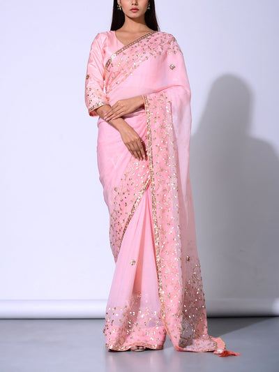 Peach Pure Chiffon Saree