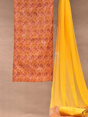 Peach Chanderi Dress Material Vj0506