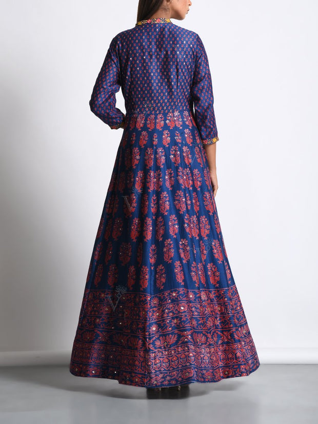 Navy Blue Chanderi Silk Anarkali Gown With Contrast Dupatta
