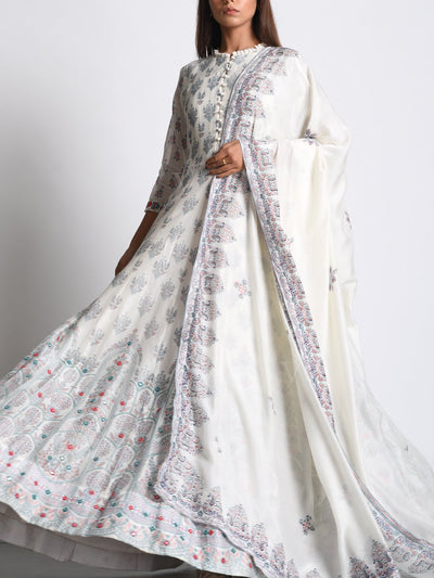 Off White Chanderi Silk Anarkali Gown