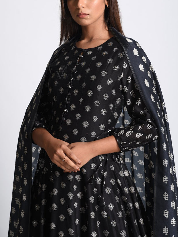 Black Chanderi Silk Anarkali Gown