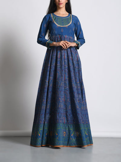 Anarkali, Anarkalis, Gown, Gowns, Printed, Traditional, Traditional wear, Traditional outfit, Highlighted, Embroidered, Party wear, Lightweight, MTO, DD28