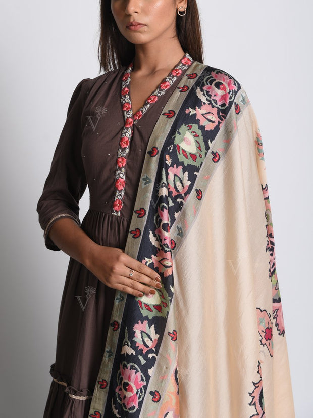 Brown Cotton Tiered Gown With Printed Dupatta