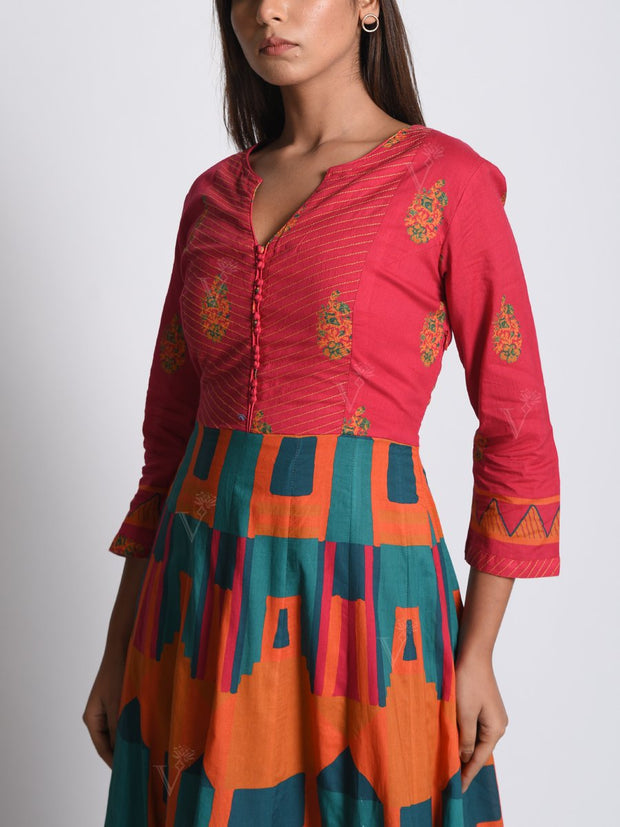 Coral Pink Cotton Anarkali Gown
