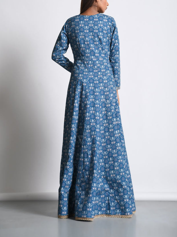 Blue Cotton Silk Printed Anarkali Gown