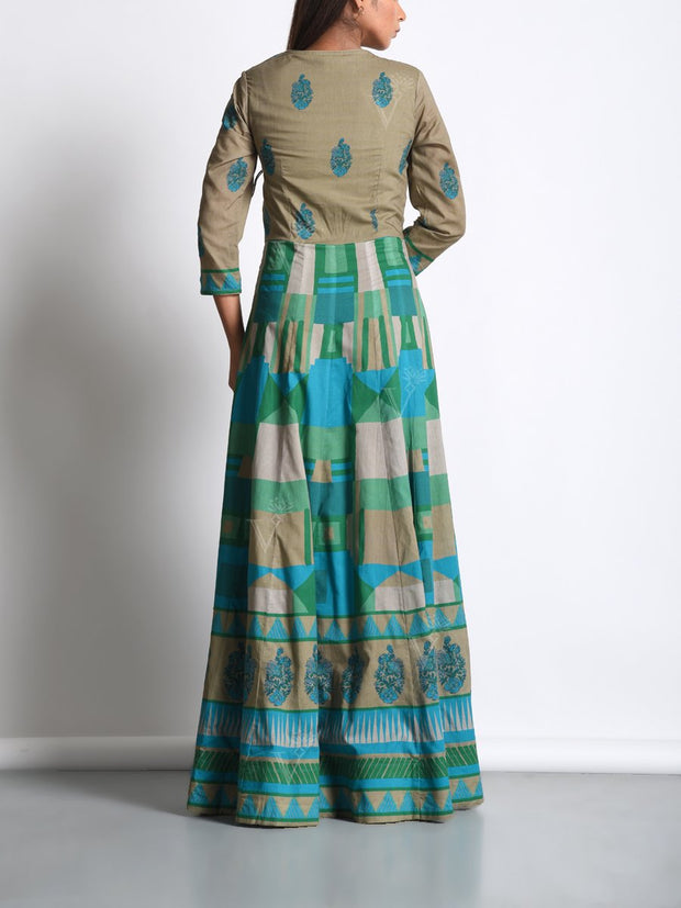 Mehendi Green Cotton Printed Anarkali Gown