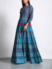 Peacock Blue Cotton Printed Anarkali Gown