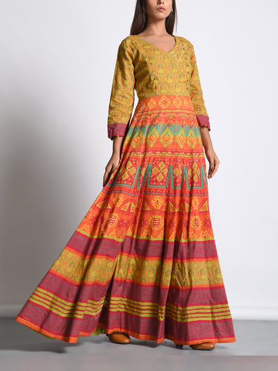 Orange Green Cotton Printed Anarkali Gown