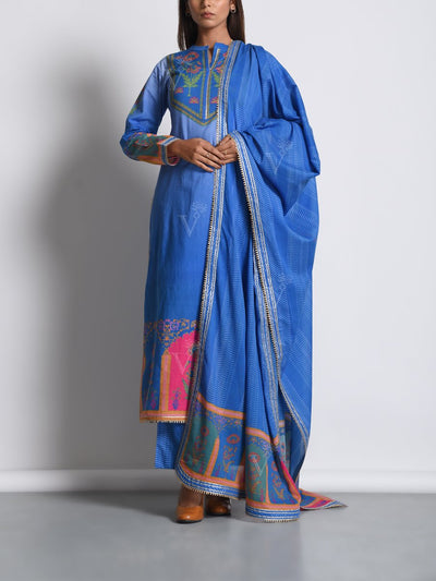 Blue Cotton Silk Mughal Printed Suit Set