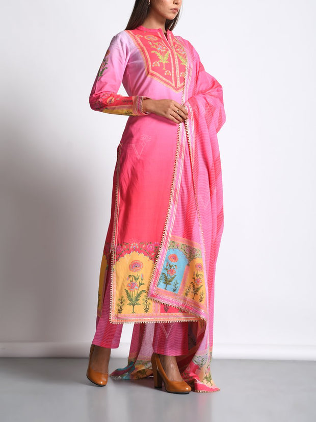 Pink Cotton Silk Mughal Printed Suit Set