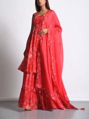 Scarlet Red Cotton Silk Printed Sharara Suit Set