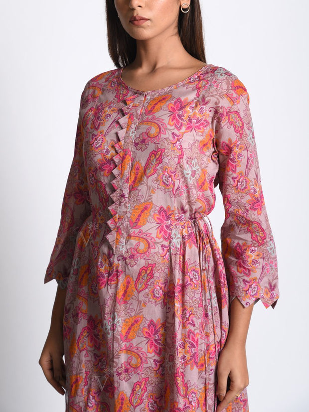 Onion Pink Botanical Printed Kurta Set