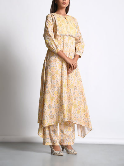 Light Yellow Cotton Printed Kurta Set