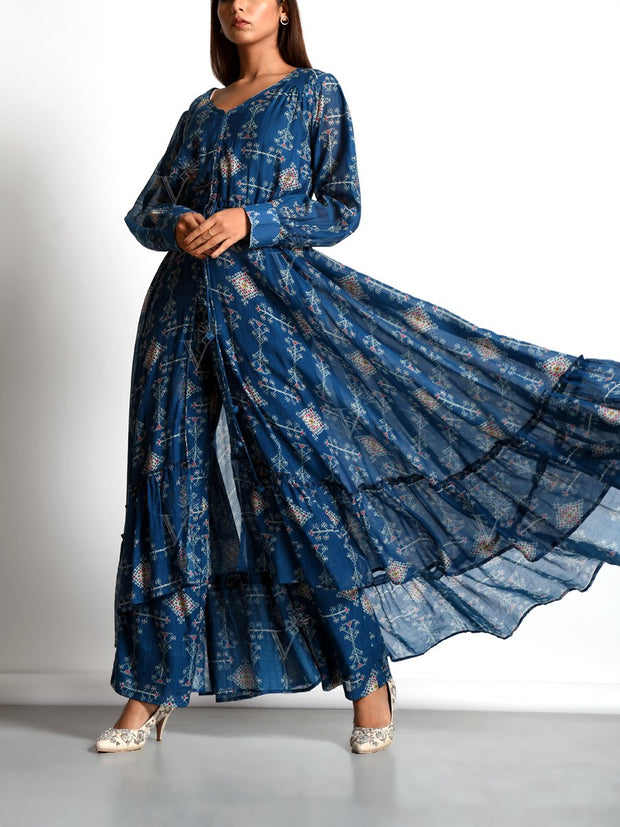 Blue Cotton Lawn Printed Kurta Set