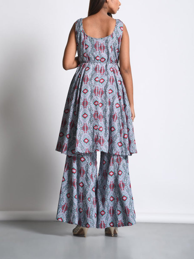 Grey Printed Cotton Silk Palazzo Set