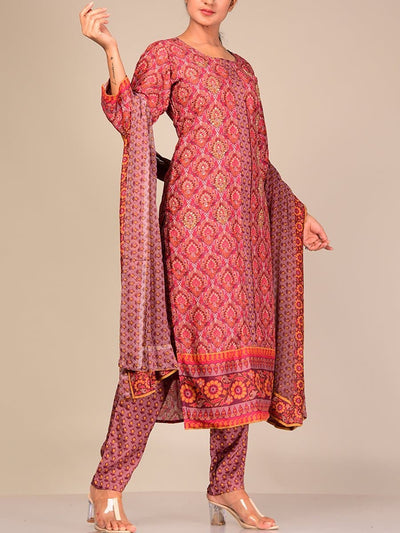 Wine Silk Blend Kurta Set With Chiffon Dupatta