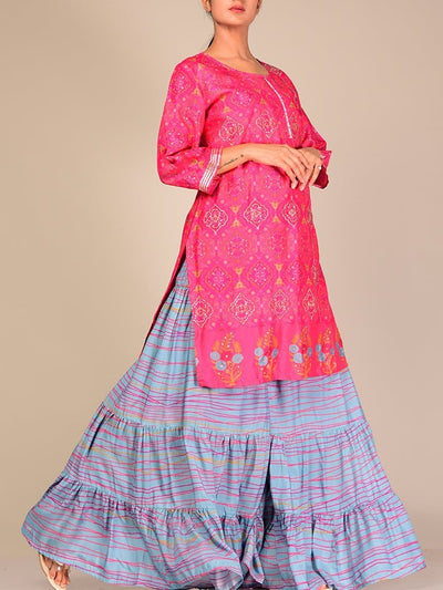 Pink And Blue Silk Blend Sharara Set