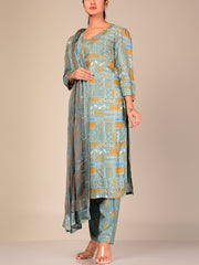 Sage Green Silk Blend Kurta Set With Chiffon Dupatta