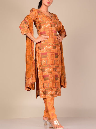 Rust Silk Blend Kurta Set With Chiffon Dupatta