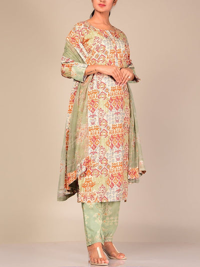 Green Printed Silk Blend Suit Set