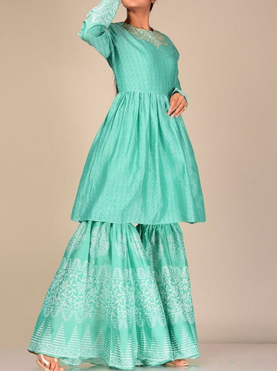 Turquoise Silk Blend Sharara Set