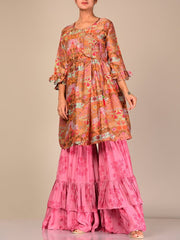 Pink And Beige Color Block Sharara Set