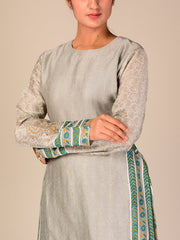 Grey Silk Blend Sharara Set