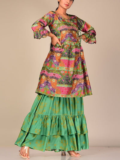 Green Color Block Silk Blend Sharara Set
