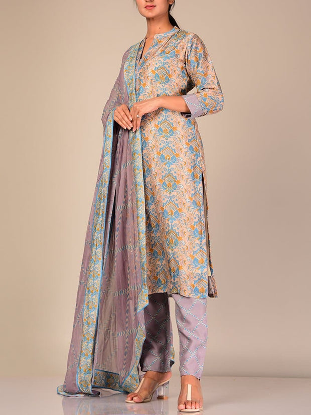Grey Silk Blend Printed Suit Set