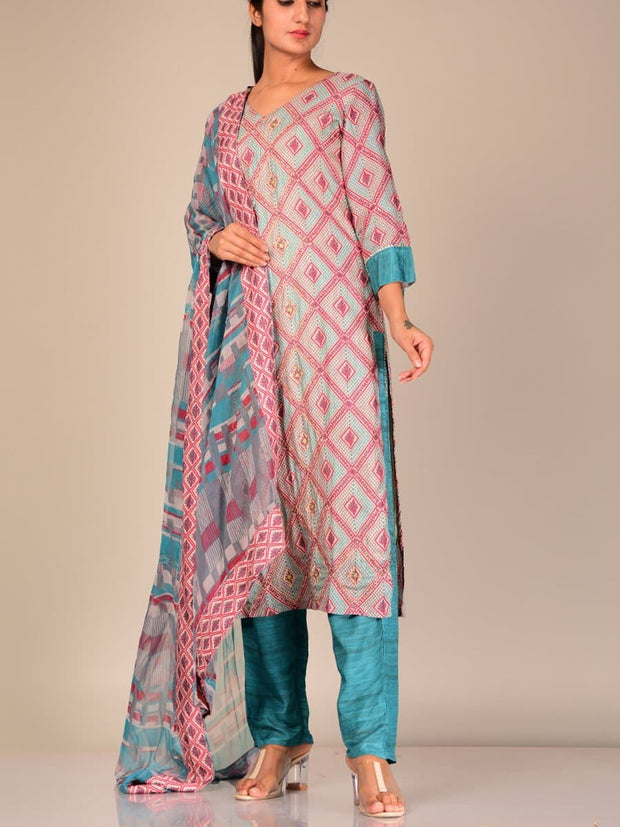 Pink And Blue Silk Blend Suit Set