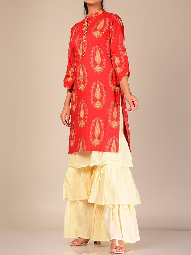 Red And White Silk Blend Sharara Set