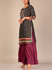 Black And Wine Bandhani Sharara Set