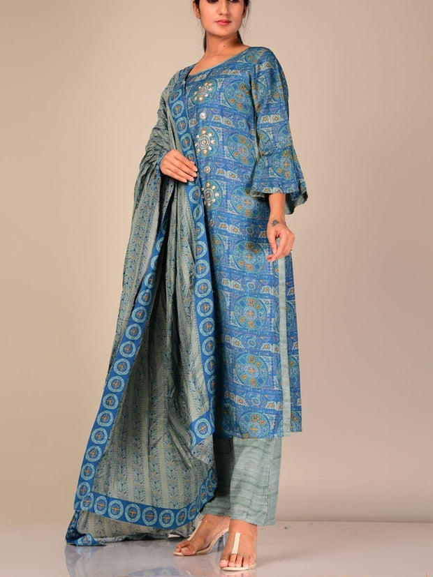 Blue Silk Blend Suit Set