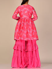 Pink Silk Blend Sharara Set