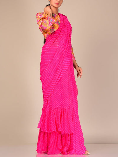 Mothda Leheriya Pre Draped Ruffled Saree