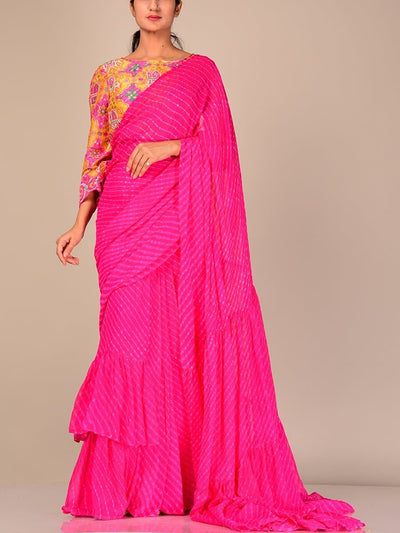 Saree, Sarees, Indo Western, Pres Draped, Printed, Ruffled, Top, Blouse, Designer Saree, Party Wear