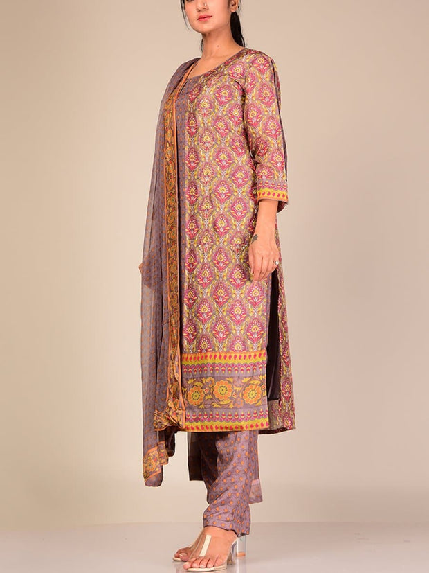 Beige Silk Blend Suit Set