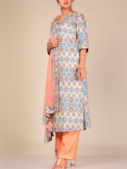 Blue And Peach Silk Blend Suit Set